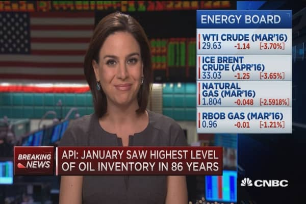 API: Highest level of oil inventory in 86 years