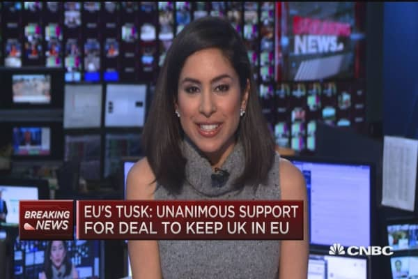 EU's Tusk: Unanimous support to keep UK in EU