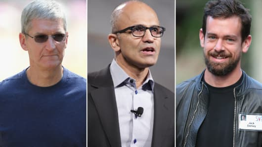 Apple CEO Tim Cook (L), Microsoft CEO, Satya Nadella (C) and Twitter CEO Jack Dorsy (R).