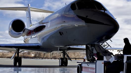 A Gulfstream jet sits in Honeywell International Inc.'s hangar at Morristown Airport in Morristown, New Jersey.