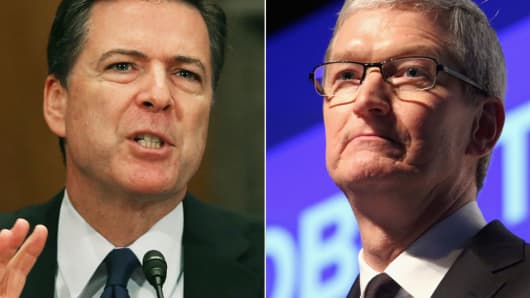 FBI Director James Comey Jr. and Apple CEO Tim Cook