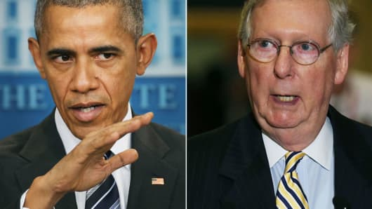 Barack Obama and Mitch McConnell