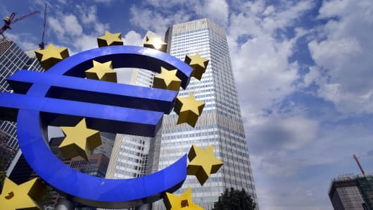 A euro sign in front of the Headquarters of European Central Bank in Frankfurt.