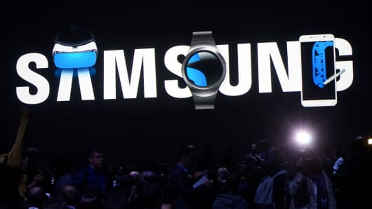 Samsung signage on display at the Mobile World Congress in Barcelona, Spain on Feb. 22, 2016.
