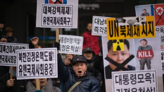 Anti-North Korea activists at a protest in Seoul on February 22, 2016