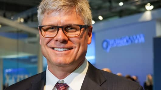 Steve Mollenkopf, CEO of Qualcomm, at the Mobile World Congress in Barcelona on Feb. 23, 2016.
