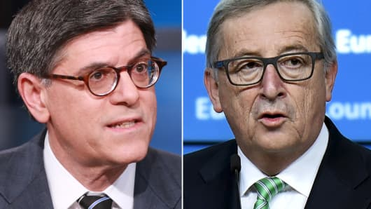 U.S. Treasury Secretary Jack Lew (L) and European Commission President Jean-Claude Juncker (R).