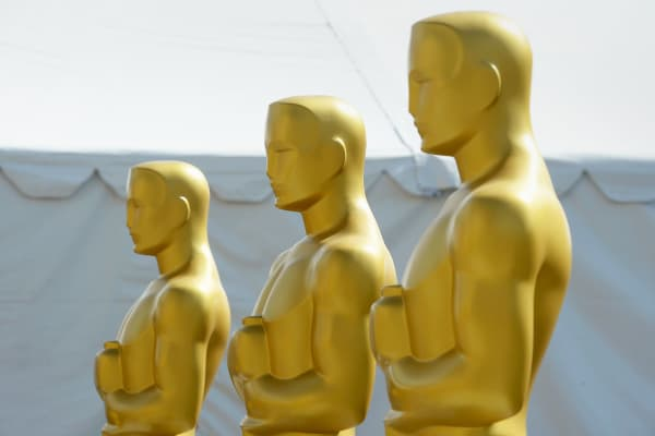 Oscar statuettes are seen in preparations for the 88th Annual Academy Awards on February 23, 2016 in Hollywood.
