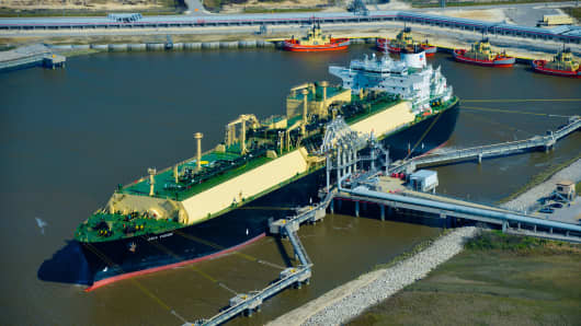 An LNG carrier ship is docked at the Cheniere Energy terminal in this aerial photograph taken over Sabine Pass, Texas.