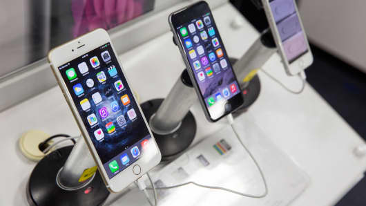 Apple iPhones are seen at a Best Buy store in Indianapolis, Indiana.