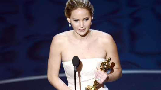 Actress Jennifer Lawrence accepts the Best Actress award for 'Silver Linings Playbook' during the Oscars held at the Dolby Theatre on February 24, 2013 in Hollywood, California.