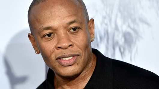 Rapper Dr. Dre arrives at the premiere of Universal Pictures and Legendary Pictures' 'Straight Outta Compton' at the Microsoft Theatre on August 10, 2015 in Los Angeles, California.