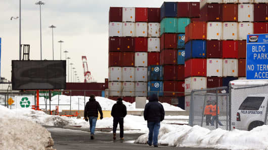 Shipping containers are stacked at the Port of Newark in Newark, New Jersey.