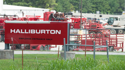 Various Halliburton equipment being stored at the equipment yard in Alvarado, Texas.