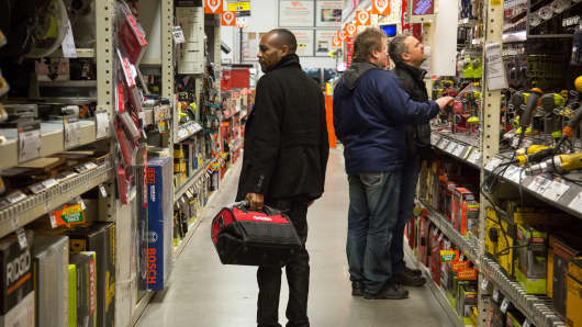 Customers shop at a Home Depot store in Jersey City, New Jersey, Feb. 20, 2016.