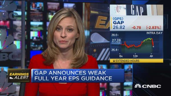 Gap full year guidance sharply below estimates