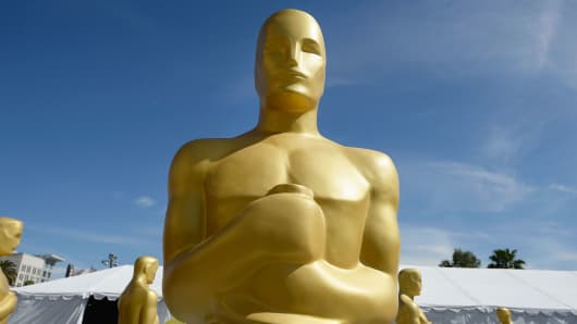 An Oscar statue is seen for the Annual Academy Awards in Hollywood.