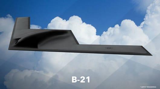 An artist rendering of the B-21 released by Deborah Lee James, Secretary of the Air Force.