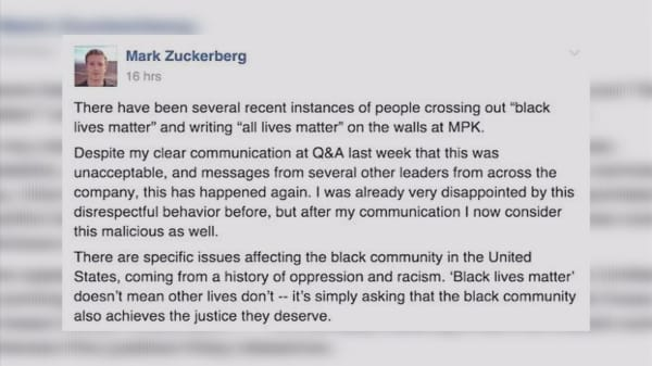 Zuckerberg slams staff for defacing 'Black Lives Matter'