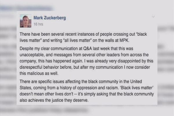 Zuckerberg slams staff for defacing 'Black Lives Matter'