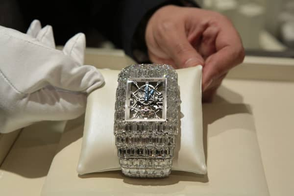 The Billionaire watch from Jacob & Co. features 260 carats of emerald cut diamonds and priced at $18 Million.