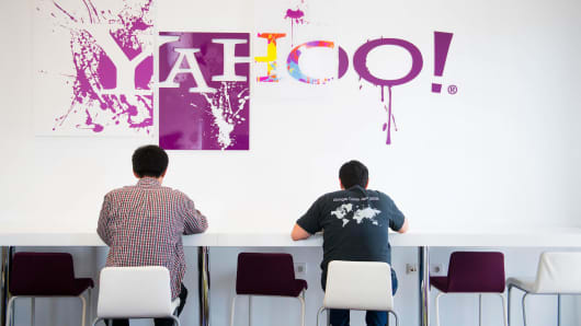 Employees take a break in the cafeteria of a Yahoo office.
