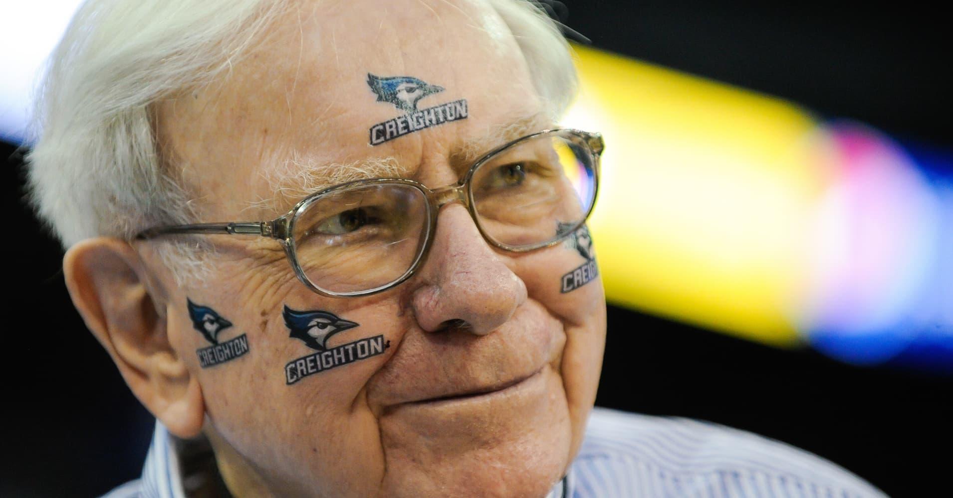 Warren Buffett at a Creighton Bluejays NCAA basketball game in Omaha, Nebraska.