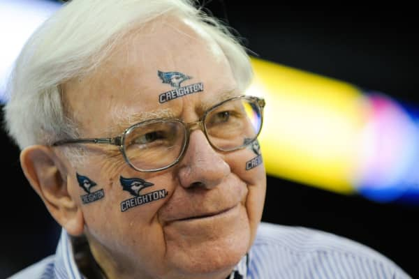 Warren Buffett at a Creighton Bluejays NCAA basketball game in Omaha, Nebraska.