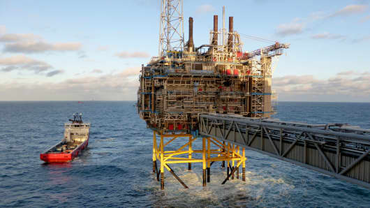 An offshore oil and gas rig near Stavanger, Norway.