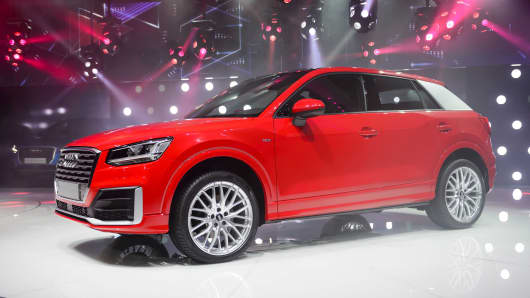 A new Audi Q2 model car is displayed at the stand of German carmaker during the press day of the Geneva Motor Show on March 1, 2016 in Geneva