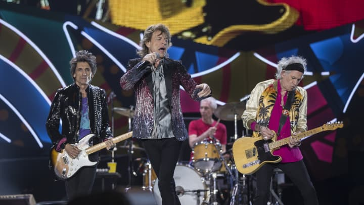 Mick Jagger, Ronnie Wood, Keith Richards and Charlie Watts of The Rolling Stones perform live on stage during the America Latina Ole Tour 2016 at Estadio Nacional on February 03, 2016 in Santiago, Chile. The band has announced a free concert in Havana, Cuba later in March.