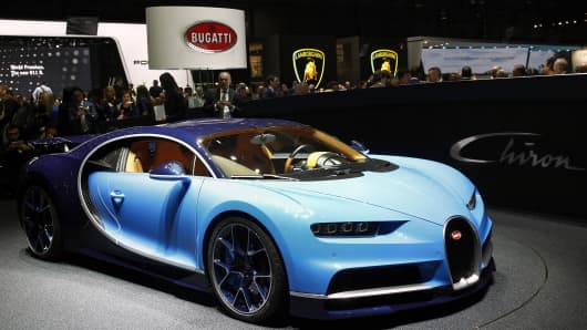 A Bugatti Chiron model is displayed during the 86th Geneva International Motor Show in Geneva, Switzerland.