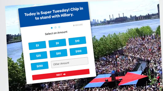 A detail of Hillary Clinton's website showing donation amounts on Super Tuesday, March 1, 2016.