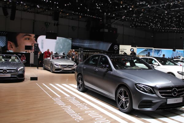 Cars being displayed at the 86th Geneva International Motor Show