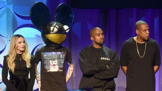 Madonna, Deadmau5, Kanye West, and JAY Z onstage at the Tidal launch event.