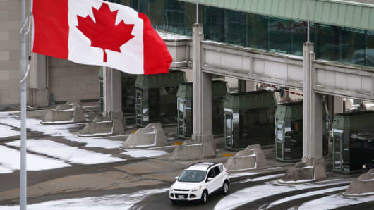 A vehicle makes its way through the Canadian border crossing in Niagara Falls, Ontario, Canada.