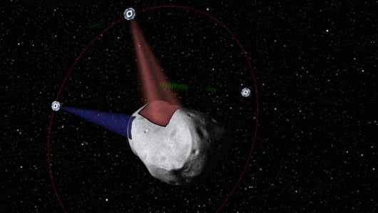 A rendering of Planetary Resources' prospectors using optical communication lasers to analyze the surface of an asteroid.