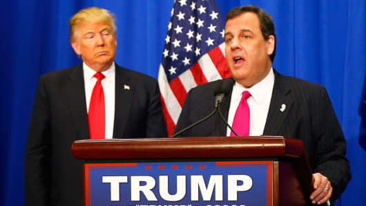 Former Republican U.S. presidential candidate Chris Christie (R) endorses his former rival for the Republican presidential nomination Donald Trump (L) before a Trump campaign rally in Fort Worth, Texas February 26, 2016.