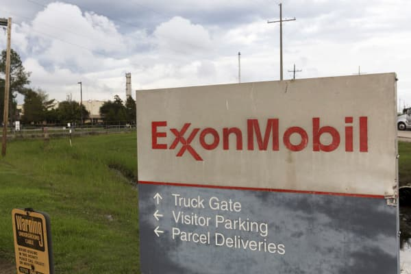 A sign is seen at the entrance of the ExxonMobil Port Allen Lubricants Plant in Port Allen, Louisiana, November 6, 2015.