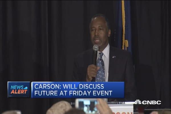 Carson will not attend Thursday debate