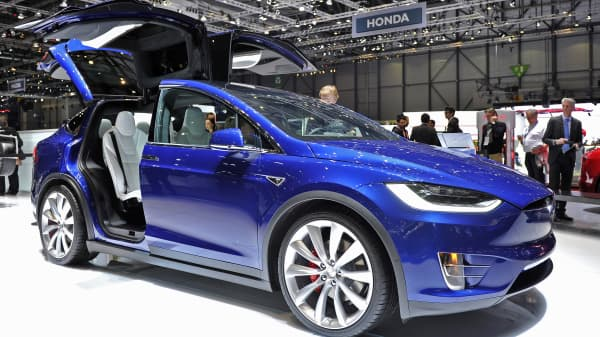 A Tesla Model X is displayed during the Geneva Motor Show 2016 on March 1, 2016 in Geneva, Switzerland.
