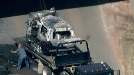 The car wreckage from the accident that killed former Chesapeake Energy CEO Aubrey McClendon in Oklahoma City on March 2nd, 2016.