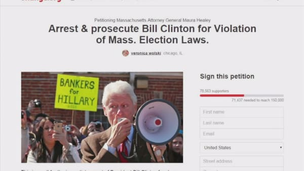 Petition calling for Bill Clinton arrest