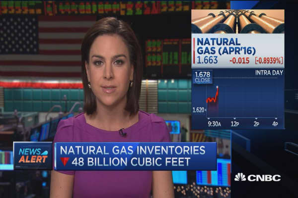 Nat gas inventories down
