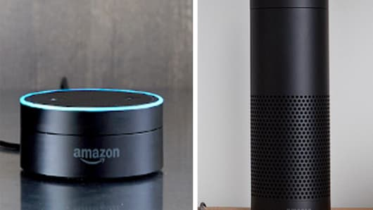 Amazon Echo Dot and Amazon Echo.