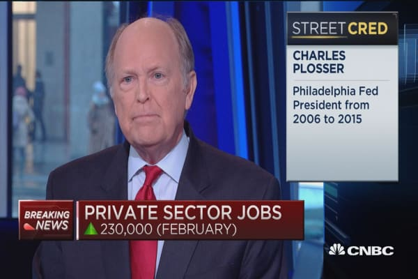 Fed may have to catch up: Charles Plosser