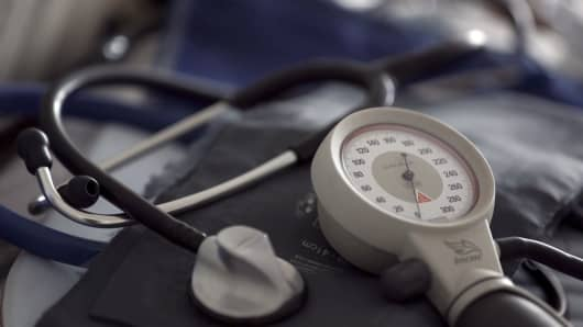 A stethoscope and blood-pressure machine
