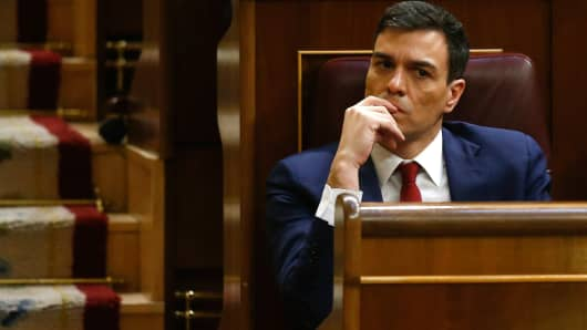 Spain's Socialist Party (PSOE) leader Pedro Sanchez attends an investiture debate at parliament in Madrid, Spain, March 2, 2016.