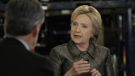 Democratic presidential candidate and former Secretary of State Hillary Clinton speaks with CNBC's John Harwood speaks with at Detroit Manufacturing Systems in Detroit, MI on March 4, 2016.