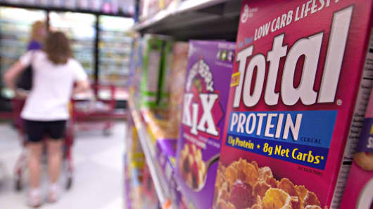 General Mills Total Protein cereal sits on display in a supermarket.